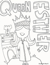 Queen Esther Coloring Pages Religious Doodles