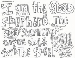 I Am The Good Shepherd Gives His Life For Sheep John 1011 Coloring Page