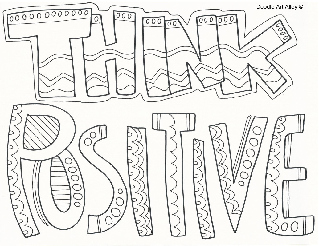 Picture Think Positive Coloring Page