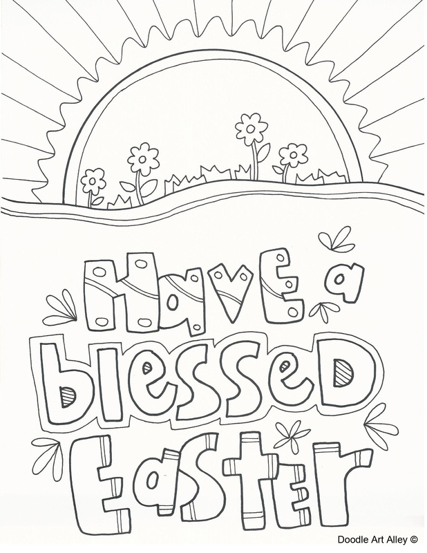 Printable Christian Easter Coloring Sheets : Easter Coloring Pages Religious Doodles