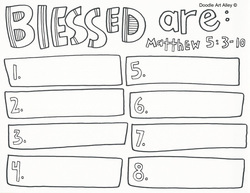 Beatitudes coloring page sermon on the mount religious doodles
