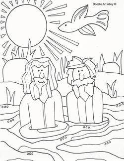 Baptism of Jesus Coloring Pages - Religious Doodles
